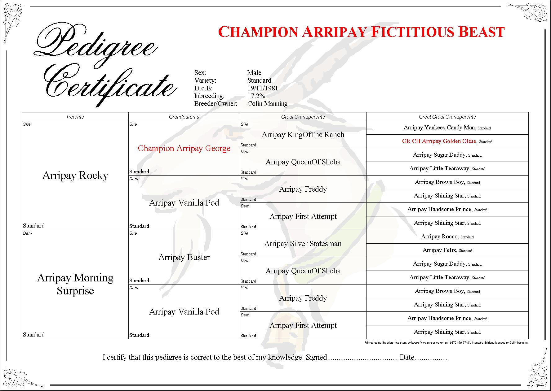 Breeders Assistant Pedigree Certificate Layouts
