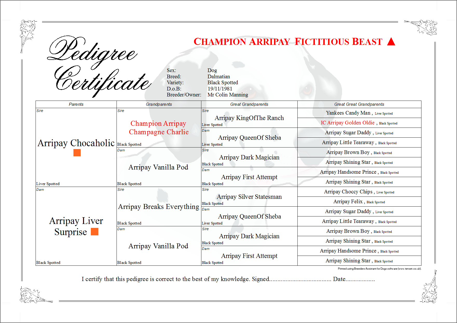 Breeders Assistant Pedigree Certificate Layouts