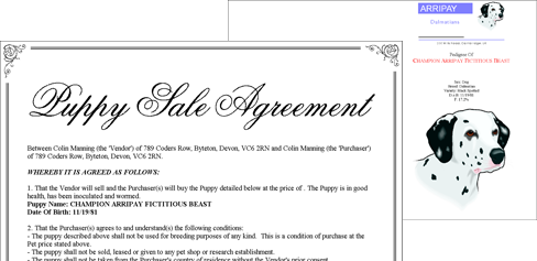 Breeders Assistant Sale Agreements and Pedigree Cover Sheets