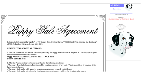 Sale Agreements and Cover Sheets